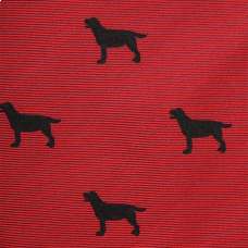 Woven Black Lab Bow - Red